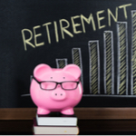 piggy wearing glasses teaching a class on retirement